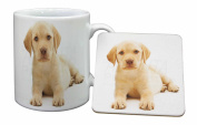 Yellow Labrador Mug and Table Coaster, Ref:AD-L4MC