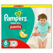 Pampers Baby-Dry Pants Size 6 Nappies Jumbo+ Box 58 per pack