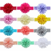 YiZYiF 12pcs Infant Baby Girls Toddler Soft Elastic Chiffon Lace Flower Hair Band Headband