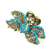 8 cm Vintage/ Antique Style Burnished Gold Effect Floral Design Turquoise Crystal Diamante Studded Hair Clamp/ Hair Grip