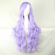 Womens Ladies Girls 80cm Smoke Purple Colour Long Curly Wigs High Quality Hair Carve Cosplay Costume Anime Party Bangs Full Sexy Wigs