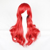 Womens Ladies Girls 70cm Red Colour Long Curly Wigs High Quality Hair Carve Cosplay Costume Anime Party Bangs Full Sexy Wigs