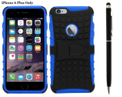 Deet® Blue / Black Apple iPhone 6/6S PLUS Heavy Duty Shockproof Case Cover & Black Stylus Pen with Biro