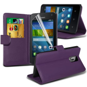 Fone-Case High Quality Purple Huawei Y3/ Huawei Ascend Y3 Case Executive Wallet Book Style Cover Made From PU Leather with 3 Credit Card Holder slots, 1 Screen Protector and 1 Colour Coded Aluminium Adjustable Pen
