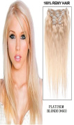 60cm 7pcs Silky Straight Full Head Remy Clip In Human Har Extensions 80g/set #60 platinum