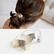 Minimalist Gold Silver Metal LEAF Tree Leaves Feather Cuff Wrap Metallic Hairband Ponytail Pony Holder Band Rope Ring Ties Headwear Headdress Styling Jewellery Accessories Bracelet Wedding Party GIFT