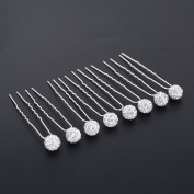 Yantu 20pcs Clear Crystal Flower Bridal Wedding Hair Pin Clip Accessories