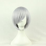 Aimer 32cm Heat Resistant Short Hair Silver Grey Colour Spiral Cosplay Wigs for Women Girls