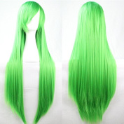 Aimer 80cm Heat Resistant Straight Hair Green Colour Spiral Cosplay Wigs for Women Girls