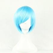 Aimer 32cm Heat Resistant Short Hair Blue Colour Spiral Cosplay Wigs for Women Girls