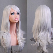 Aimer 70cm Heat Resistant Hair Sliver White Colour Spiral Cosplay Wigs for Women Girls