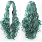 Aimer 80cm Heat Resistant Curly Hair Dark Green Colour Spiral Cosplay Wigs for Women Girls
