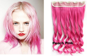 Beauty Wig World 60cm 130gr One Piece Colourful Curly 3/4 Head Synthetic Clip On/in Hair for Halloween Cosplay Colour#Peach Pink