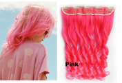 Beauty Wig World 60cm 130gr One Piece Colourful Curly 3/4 Head Synthetic Clip On/in Hair for Halloween Cosplay Colour#Pink