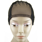 MsFenda full lace wig cap, Wig Making Cap, Glueless Wig Cap, Weaving Mesh Net Cap, adjustable Wig Cap, Black Colour, 3pcs/lot