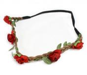 Fashionwu Women Boho Flower Hairband Party Wedding Headbands Red
