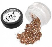 Grl Cosmetics Cosmetic Glitter Makeup for Face, Eyes, Lips, Nails and Body - GL110 Rose Gold, 5 Gramme Jar