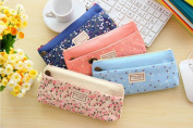 LEFV™ Pastorable Canvas Bag Multi-fuctional Pencil Pen Bag Pounch Cosmetic Makeup Brushes Lovely Cute Flower Floral Case Stationery Coin Purse Holder Set of 4