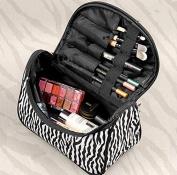 Fashion Zebra Pattern Lady Makeup Bag Women Portable Cosmetic Toiletry Bags Travel Storage Organiser