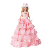 Yiding Handmade Party Clothes Pink Dress Wedding Princess Gown For Barbie Doll