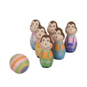 Mini Multicolor Wooden Monkey Design Bowling Pin and Ball Toy for Kids