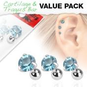 Aqua - Triple Helix Piercing - Set of 3 Crystal Prong Set Gem Barbells - 1.2mm x 6mm Bars - Pierced & Modified Body Jewellery