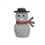Bling Jewellery Crystal Christmas Snowman Holiday Brooch Pin Rhodium Plated