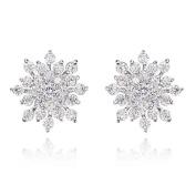 Silver Rhinestone Gem Crystal Snowflake Stud Earrings Gift Present Christmas