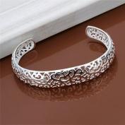 Elegant 925 Silver Hollow Pattern Flower Leaf Fashion Cuff Bracelet+Gift Box