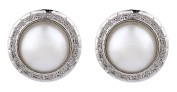 CLIP ON EARRINGS - SILVER PLATED WITH ROUND PEARL - Wonda by Bello London