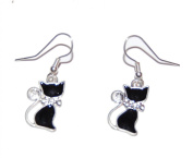 Silver Tone Black Cat Drop Hook Earrings with 925 Sterling Silver Hooks (Supplied in a Gift Pouch) Unique Jewellery