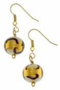 Amanti Venezia Round Gold Plated Gold With Black Swirl Murano Drop Earrings
