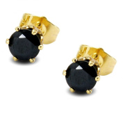 Blue Diamond Club - 6MM Simulated Black Diamond 9ct GOLD FILLED Stud Earrings Womens BE952