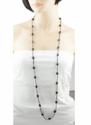 Long Black Bead Necklace 1 Strand Wraparound Vintage style Necklace By mytoptrendz