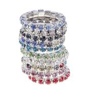 JaneDream 10 pcs Women's Ring Crystal Jewellery Rings simple design multi-colour