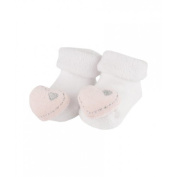 Bam bam New Baby White rattle socks with pink heart 0-3 months