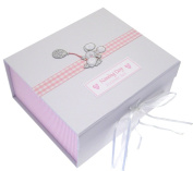 White Cotton Cards Naming Day Pink Balloon Bunnt A5 Keepsake Box