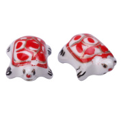 Creative Club 10pcs Turtle Spacer Beads (Red) 22x18mm Top Quality Hand Crafted Ceramic Beads cbt-6
