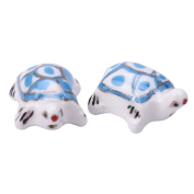 Creative Club 10pcs Turtle Spacer Beads (Blue) 22x18mm Top Quality Hand Crafted Ceramic Beads cbt-14