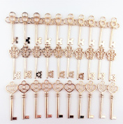 Makhry Large Skeleton Antique Keys in Rose Gold Style - Set of 30 Keys