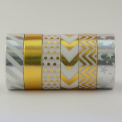 Gold Washi Tape Coloured Decorative Masking Paper Tape - Premium Quality Repositionable & Writable - 6 Rolls (15mm x 10m) - Gold & Silver - by Washi.Design