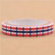 super thin blue-red checker pattern mini deco tape by Prime Nakamura