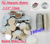 "Nd. Magnetic 1-1/4"" 32mm 100 Sets Badge Button Parts Sticker. DIY"