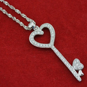 Onairmall 925 Sterling Silver Cubic Zirconia Diamond Heart Shape Key Pendant Necklace, Waves Chain 46cm