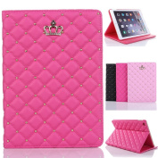 iPad Air Cover,Inspirationc® iPad 5 Crown Pattern Heavy Duty Rugged Leather Flip Smart Cover for Apple iPad Air/iPad 5 Bling Diamond Protective Stand Case--Rose Red