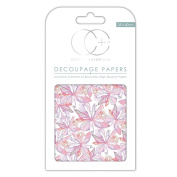 Craft Consortium Decoupage Printed Paper Pack of 3 - CP119 Floral Notes White