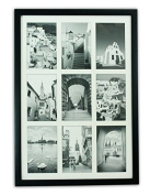Golden State Art, 13.6x9.7 Black Photo Wood Collage Frame with REAL GLASS and White Mat displays (9) 4x6 pictures