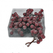 Artificial Burgundy Red Frosted Holly Berries 1.3cm (x 120) on wire for Christmas craft use