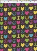 David Textiles Groovy Peace Signs Love Hearts Brown Fabric