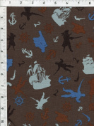"Riley Blake Emily Taylor ""Pirate Matey"" Captain Hook Grey Nautical Fabric"